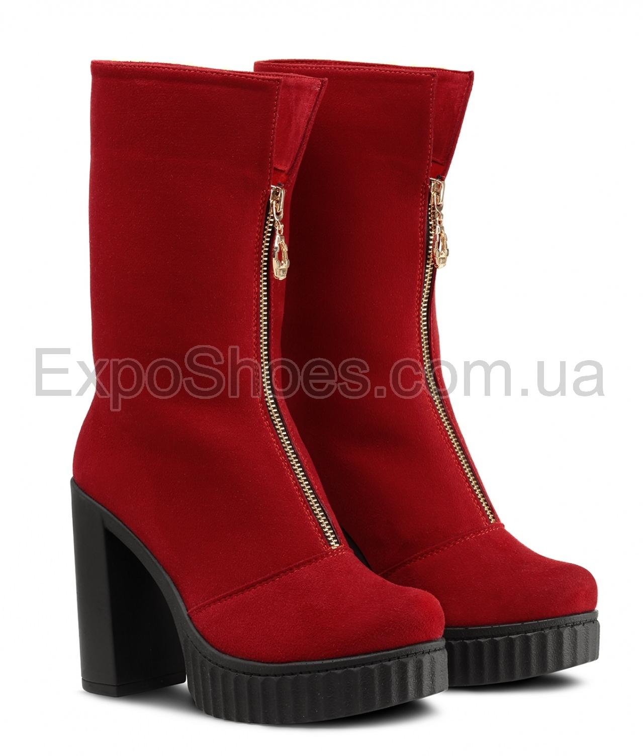 Женские красные ботинки фабрики Cats